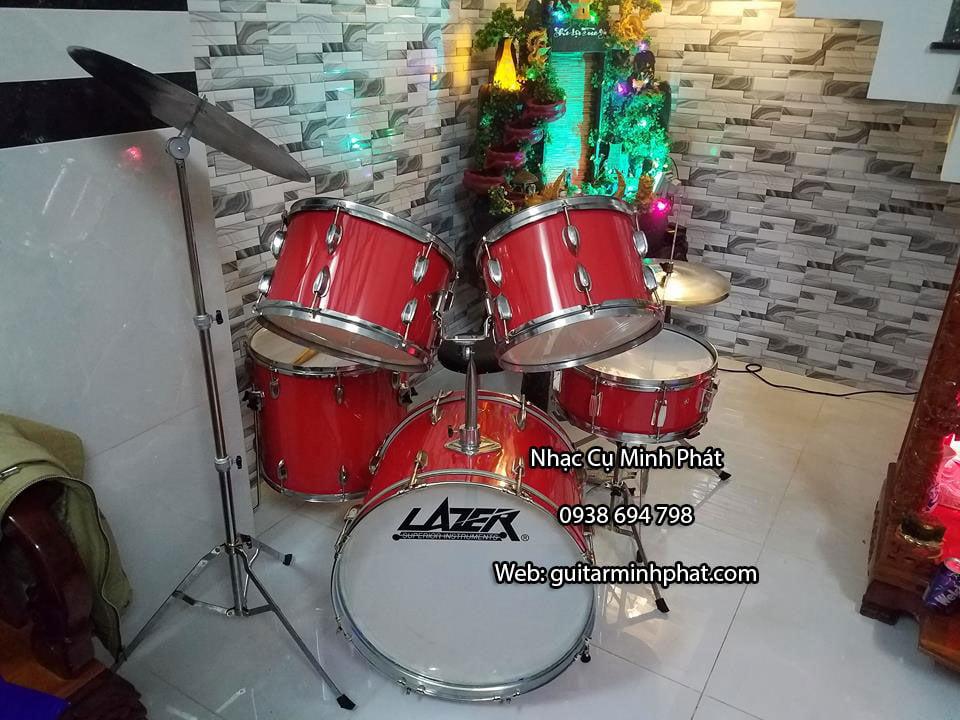 Bộ trống jazz giá rẻ cho người tự tập chơi trống tại nhà , trống jazz lazer drum màu đỏ