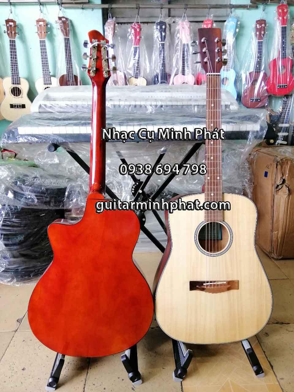 Hình ảnh chi tiết đàn guitar acoustic cho người mới tập chơi dáng khuyết A và mẫu thùng dáng D