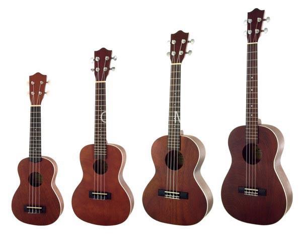 Phân biệt các dòng đàn Ukulele Soprano, Concert, Tenor và Baritone