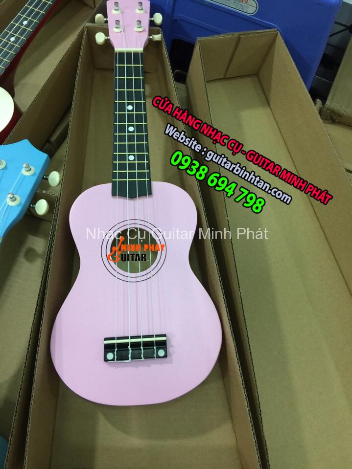 Đàn ukulele 21 inch soprano màu hồng phấn