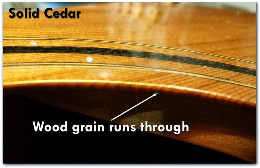 Gỗ nguyên tấm , sẽ nhìn thấy các đường vân chạy vào ở lỗ thoát âm