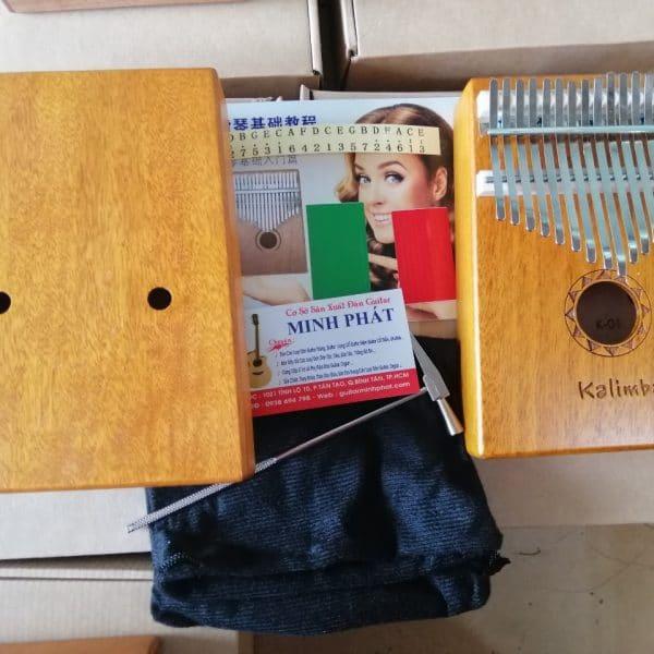 bán đàn kalimba 17 phím gỗ mahogany họa tiết đơn giản