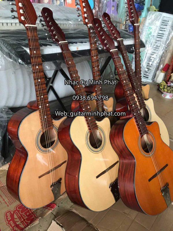Hình ảnh chi tiết mặt hông đàn guitar thùng vọng cổ phím lõm gỗ hồng đào