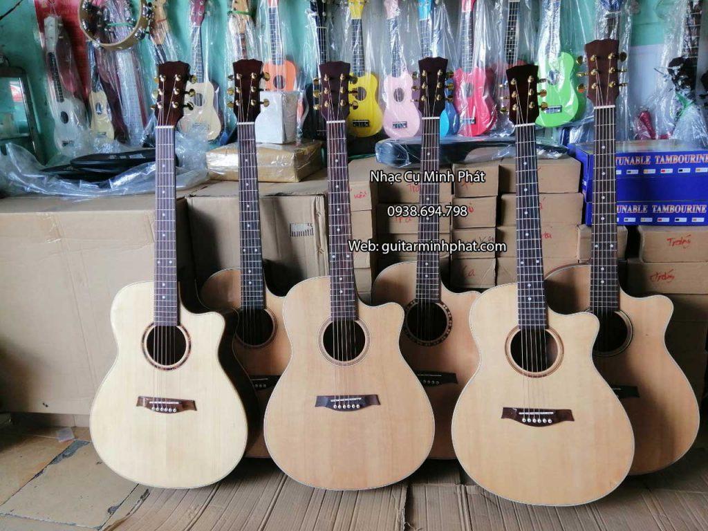 Guitar Acoustic gỗ thịt Hồng Đào nguyên tấm. cần đàn nguyên khối - có ty chỉnh cần